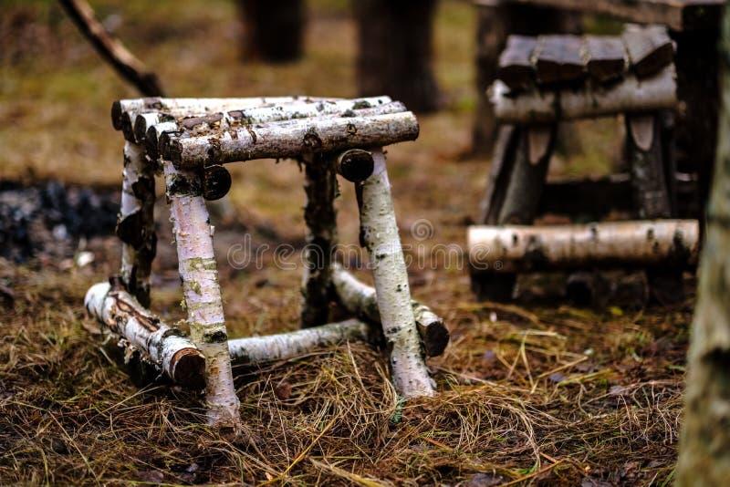 vieux trenshes en bois en Lettonie reconstruction de première guerre mondiale photo stock
