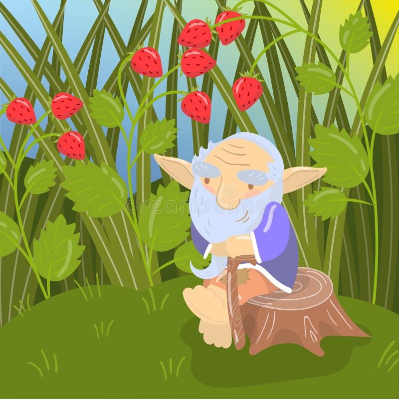 Vieux troll barbu de bande dessinée mignonne s'asseyant sur un tronçon, illustration verte de vecteur de paysage d'été illustration stock