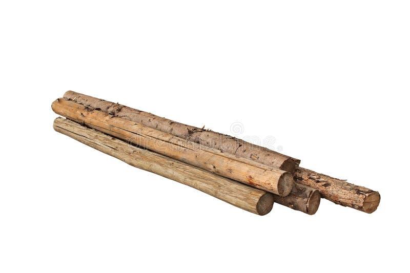 Vieux troncs d'arbre d'isolement au-dessus du blanc photos stock