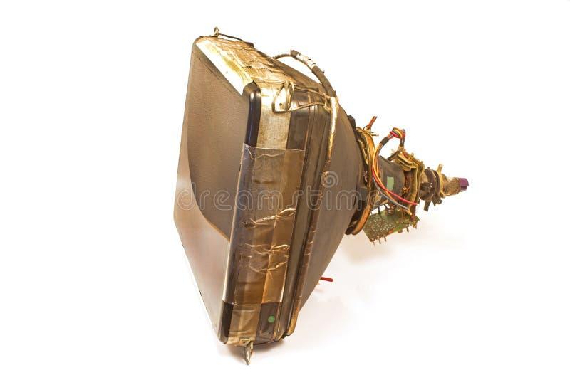 Vieux tube de cathode de télévision d'isolement sur le blanc photos libres de droits