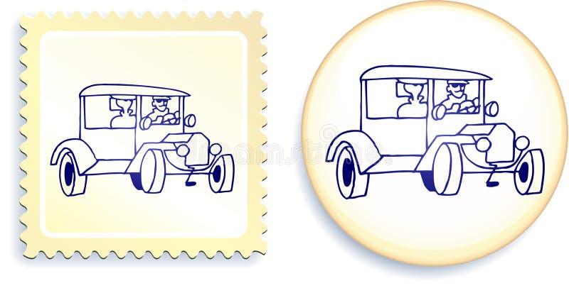 Vieux véhicule de Styel sur le positionnement de bouton et d'estampille illustration stock