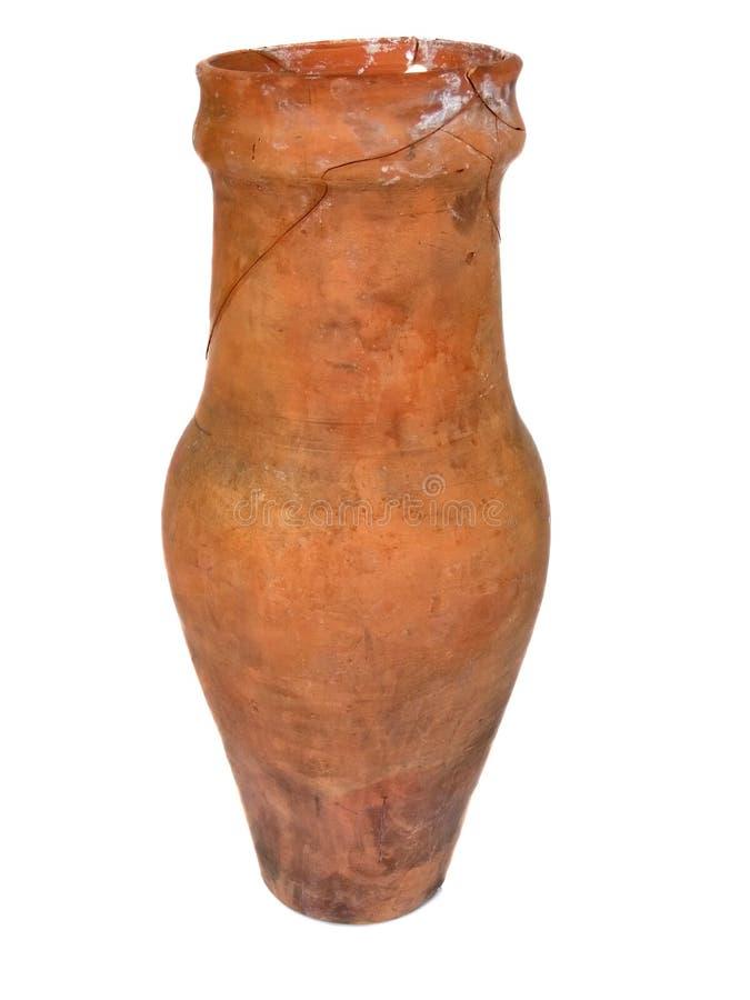 vieux vase criqué coloré par argile photographie stock