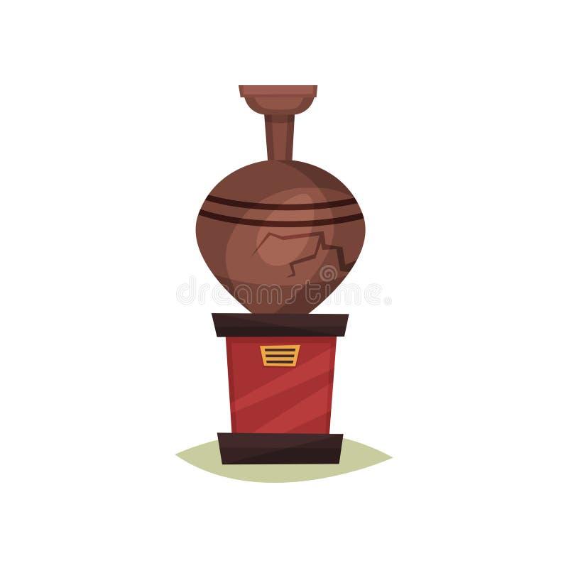 Vieux vase en céramique brun avec la fente sur le support rouge Amphora antique Objet exposé de musée historique Icône plate de v illustration de vecteur