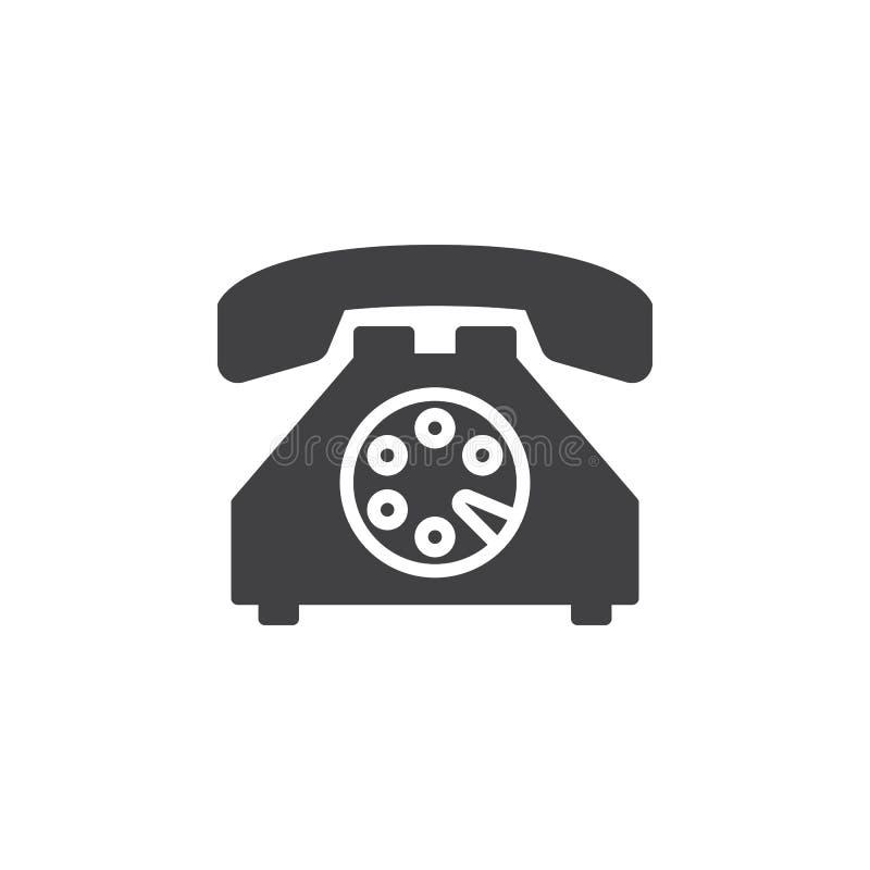 Vieux vecteur d'icône de téléphone, signe plat rempli, pictogramme solide d'isolement sur le blanc illustration de vecteur