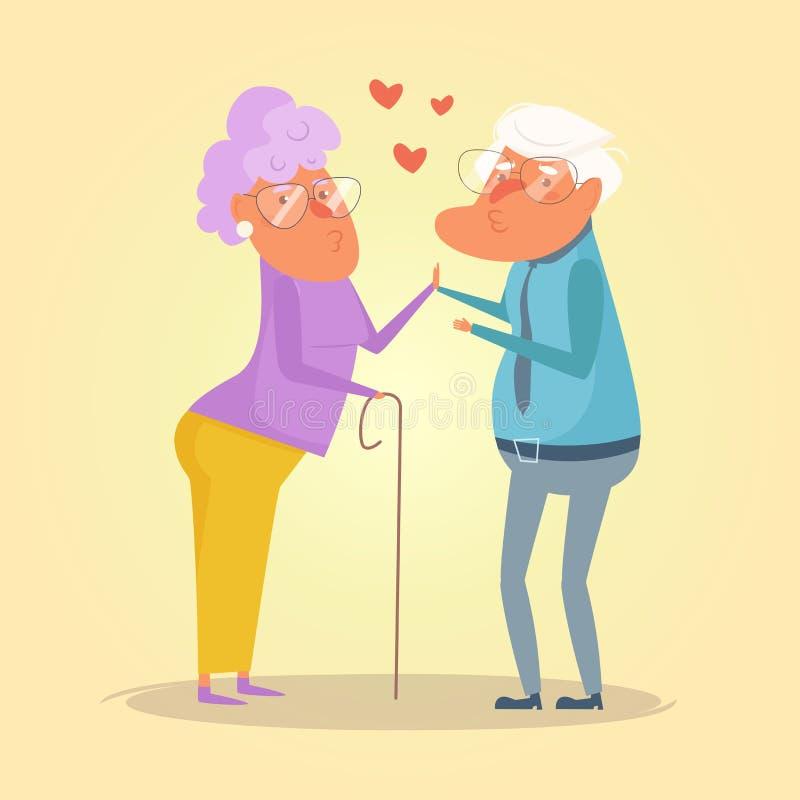 Vieux vecteur de grand-maman et de grand-papa de couples cartoon Appartement d'isolement d'art illustration libre de droits
