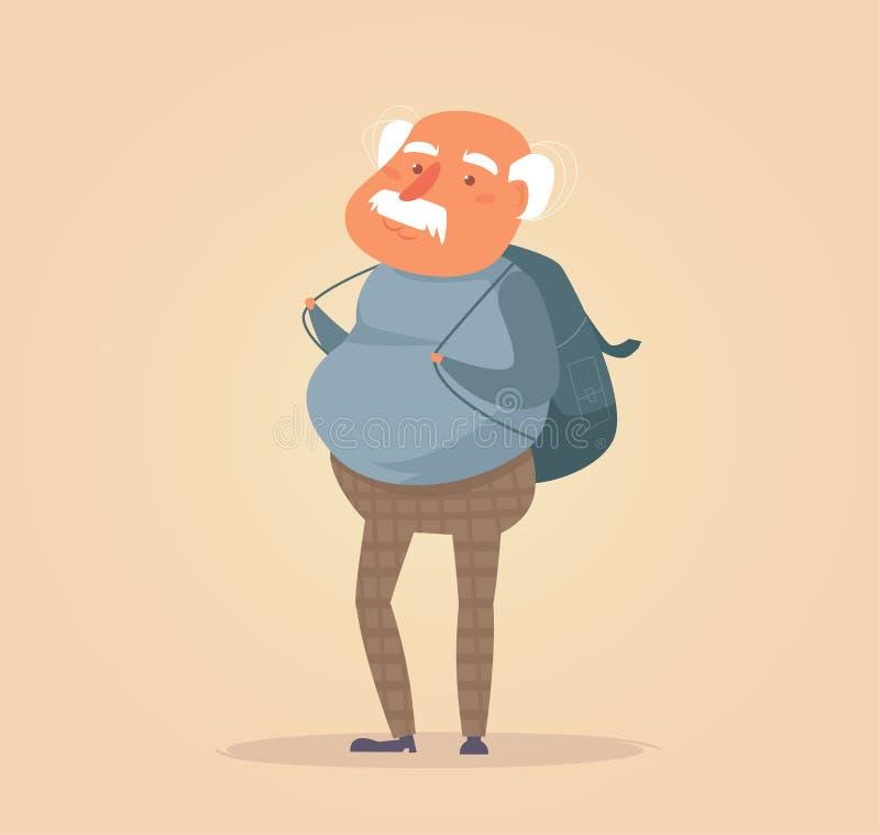 Vieux vecteur de voyageur cartoon illustration stock