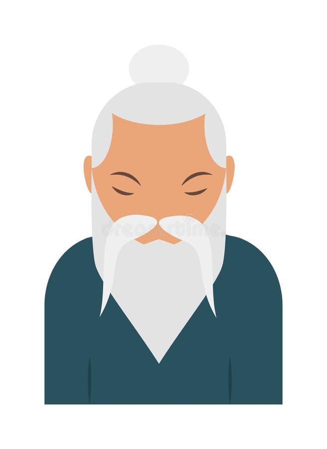 Vieux vecteur indou d'homme d'aîné de pranayama sage de yoga illustration de vecteur