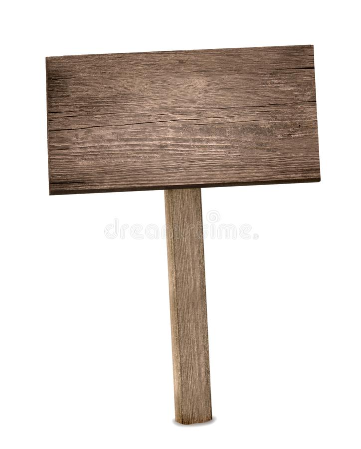 Vieux vintage d'isolement de bouclier de signe par bois en bois photographie stock