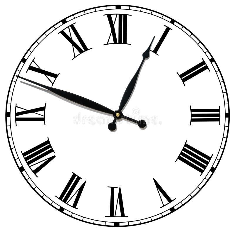 Visage d'horloge antique d'isolement image stock