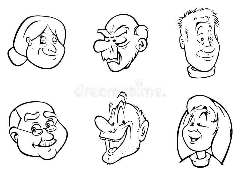 Vieux visages illustration de vecteur