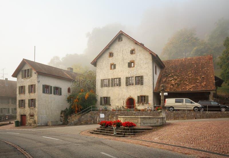 Vieux voisinage r?sidentiel un jour brumeux d'automne Vue du fontain antique Ville de Villigen, Suisse images stock