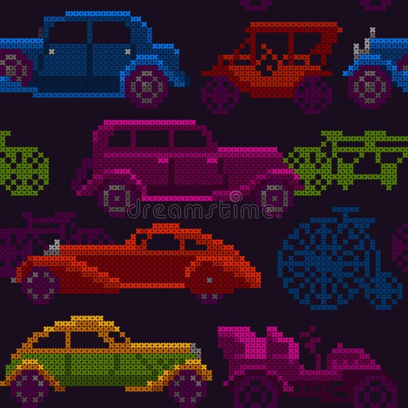 Vieux voitures et vélos colorés sans couture de minuterie illustration de vecteur