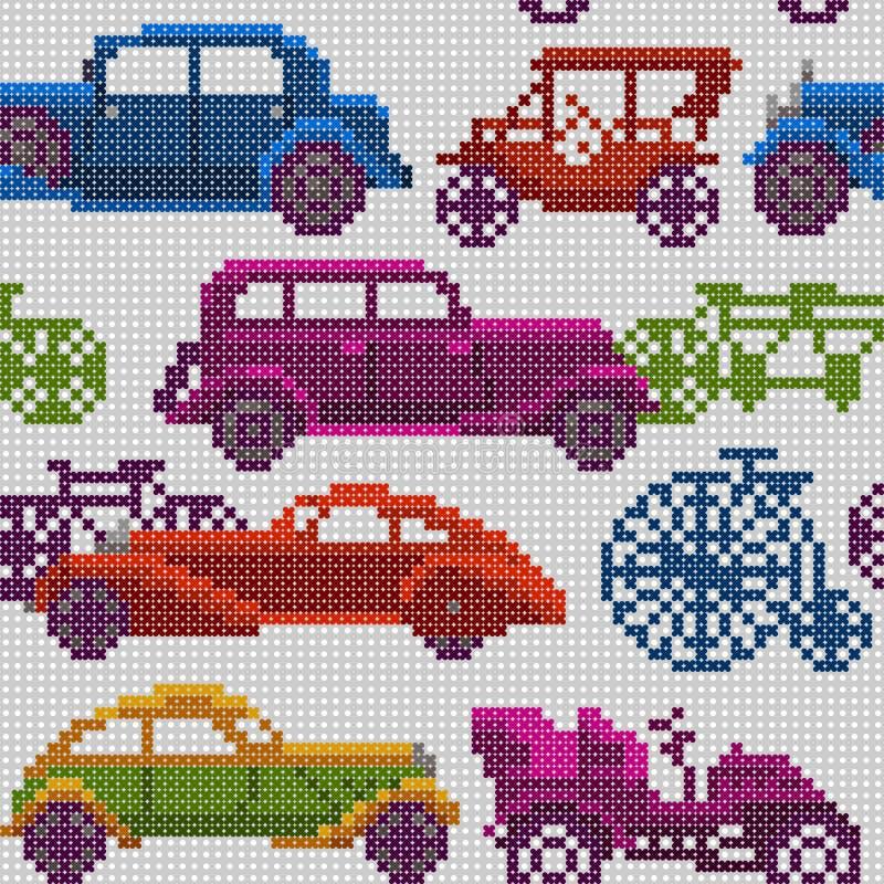 Vieux voitures et vélos colorés sans couture de minuterie illustration stock