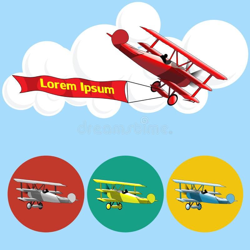 Vieux vol de modèle d'avion dans le ciel avec des nuages illustration libre de droits