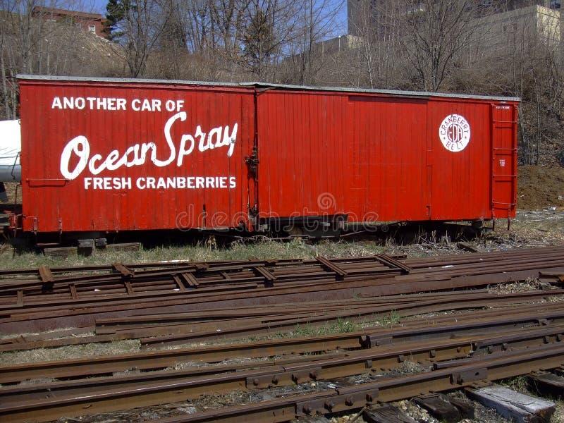 Vieux wagon couvert de chemin de fer de mesure étroite images stock