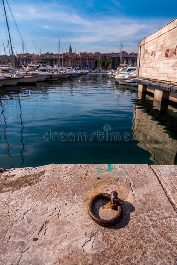 Vieuxhaven (oude haven) Marseille Frankrijk stock foto's