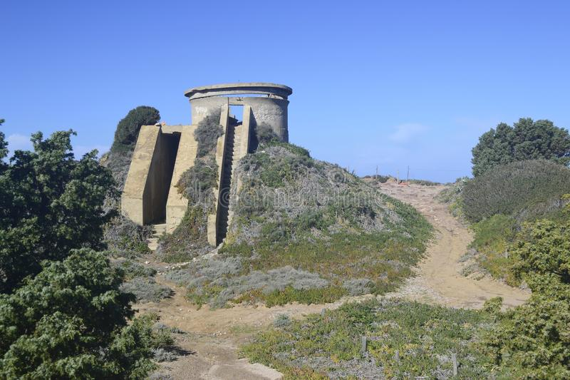 View of Capo Altano. View of the abandoned military fortifications of Capo Altano stock photo