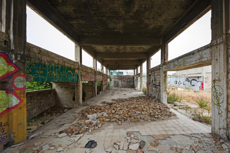 Abandoned, run-down industrial building interior royalty free stock image