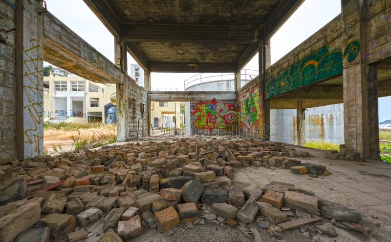 Abandoned, run-down industrial building interior stock image