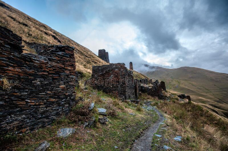 View of the abandoned village Chontio in Tusheti, Georgia royalty free stock photography
