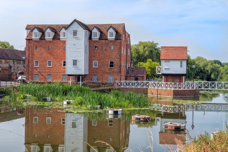 Abbey Mill and River Avon, Tewkesbury, England. A view of Abbey Mill on the River Avon near Victoria Gardens in the historic town of Tewkesbury. Now a Grade II stock images