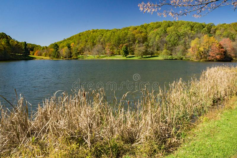 View of Abbott Lake at the Peaks of Otter stock photo