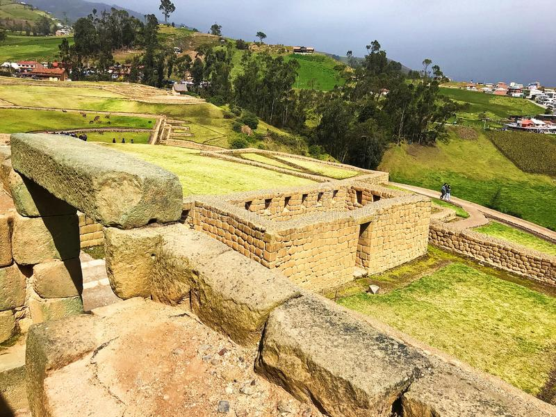 View from Above the Ancient Ruins of Ingapirca, Ecuador. royalty free stock images