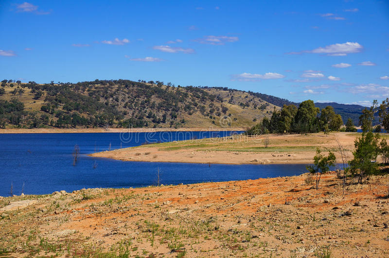 View from above on Australian outback landscape with lake. Billabong. Wyangala, NSW, Australia stock photography