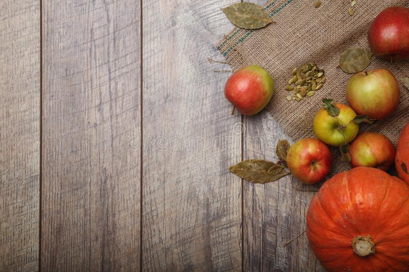 A top view of bright two bright pumpkins and colorful apples on a rustic cloth on a wooden background. Copy space. royalty free stock images