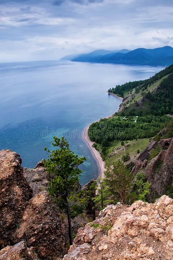View above big beautiful lake, Baikal lake, Russia. View above big beautiful lake, Baikal lake, Siberia, Russia stock image