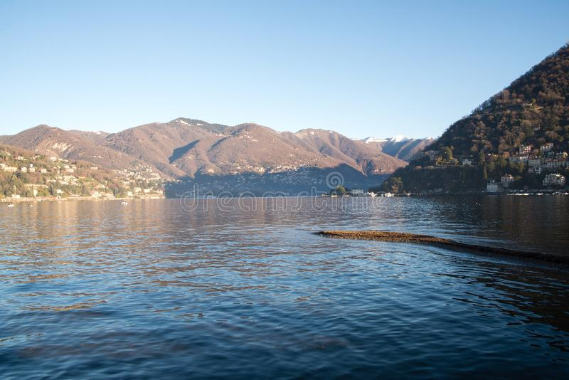 View above big beautiful lake, Como lake, Italy. stock photo