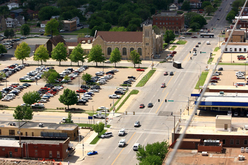 A View From Above A City Street royalty free stock photo