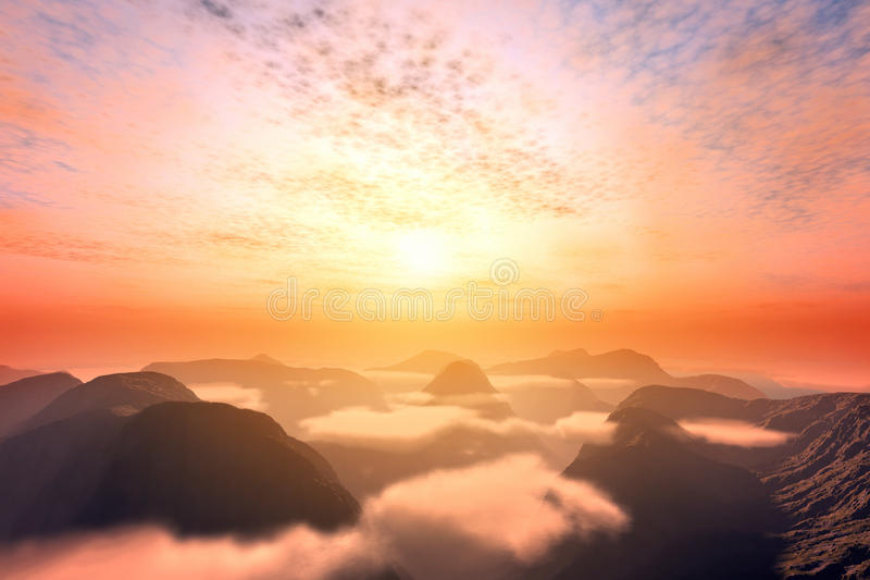 View from above clouds on mountains and sunset sky. Romantic and dramatic cloudscape stock photography