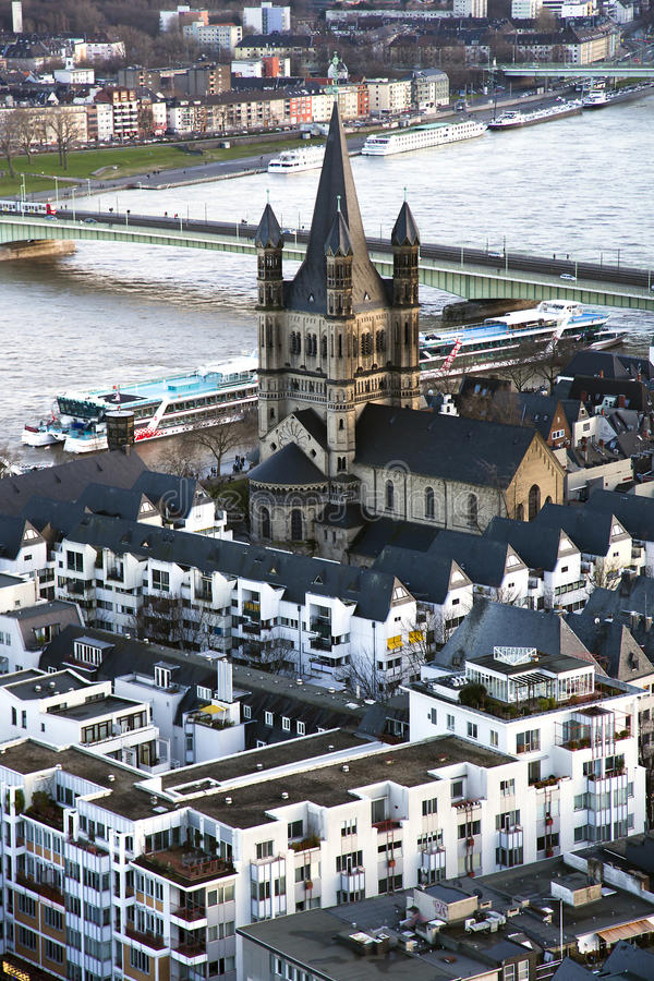 View from above on Cologne and Great St. Martin Church stock photos