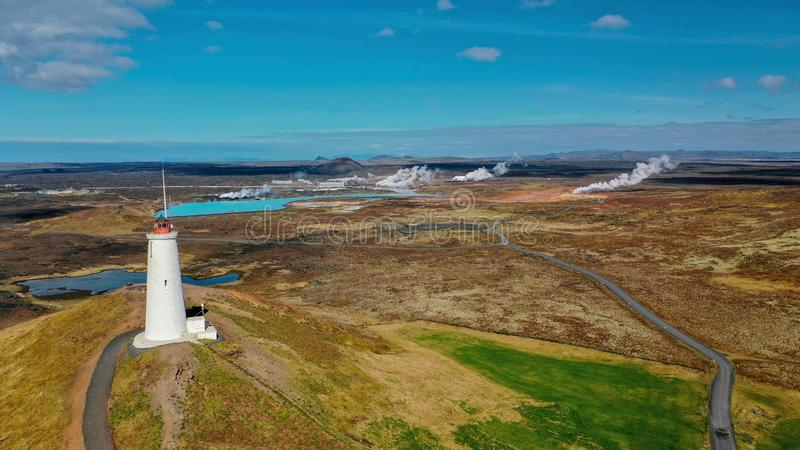 View from above on the colorful valley geothermal Gunnuhver royalty free stock photos