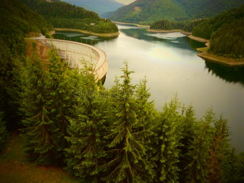 Trio: dam, forest and montains in Romania stock images