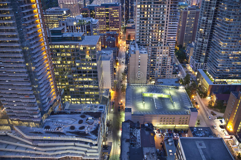 View from above of Downtown Toronto at night . A cluster of buildings in Downtown Toronto at night, view from above royalty free stock photography