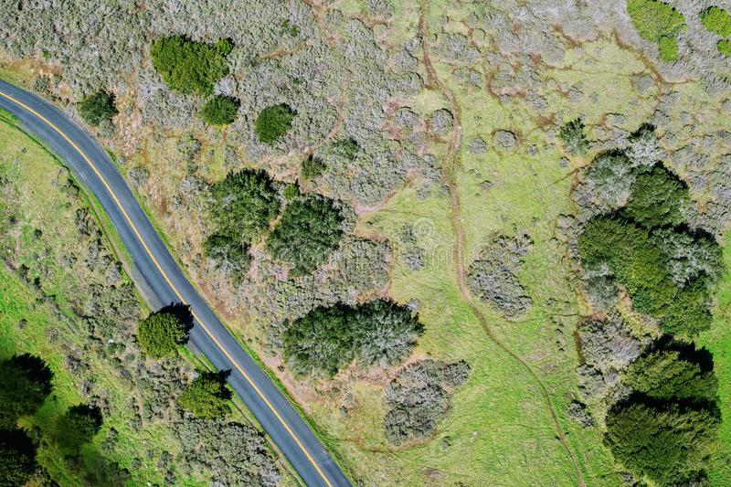 View above green fields and road royalty free stock photography