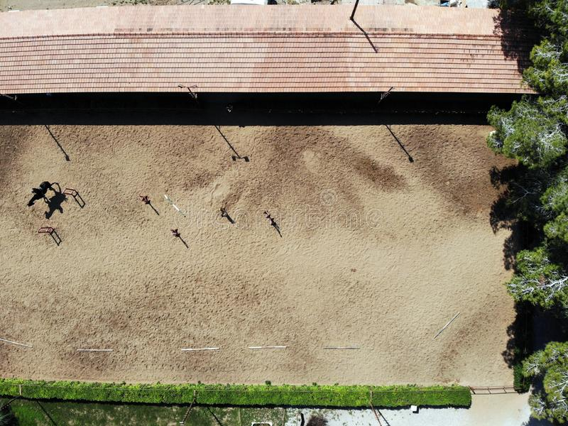View from above on the horse riding club. Created by drone in Sunny island Cyprus royalty free stock photography