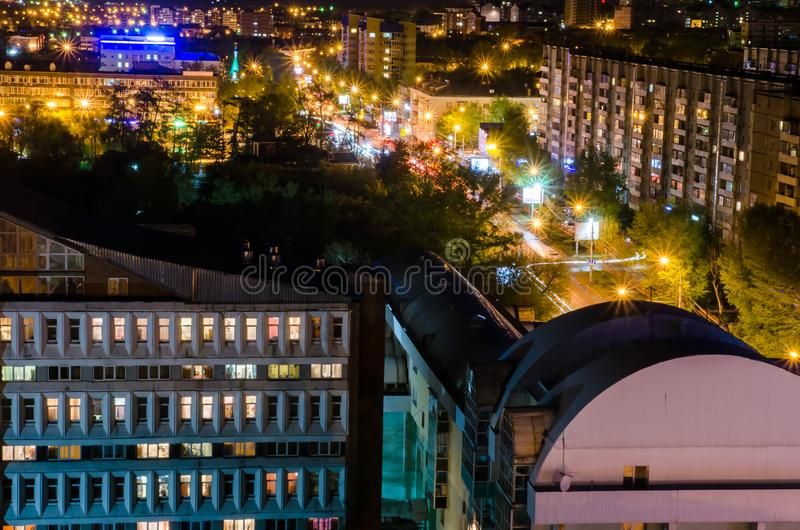 View above of Irkutsk at night to city in summer with stars royalty free stock photo