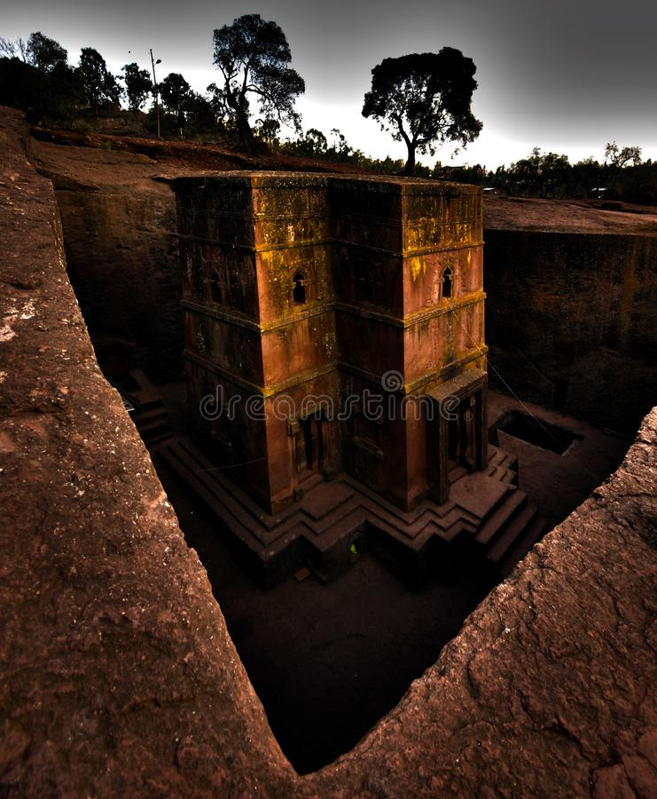 Rock hewn church of Saint George, Lalibela, Ethiopia. View from above of the monolitic rock hewn church of Bet Giorgis, dedicated to Saint George, patron saint royalty free stock photos