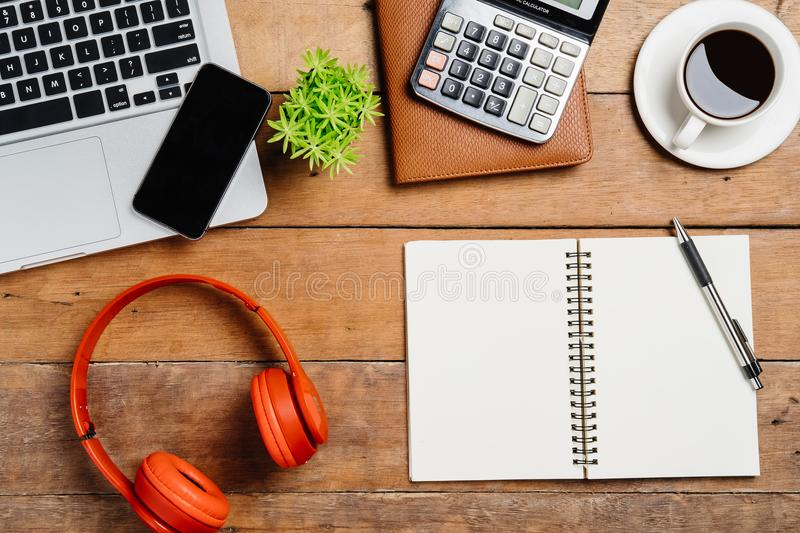 View from above.Office desk table stock image