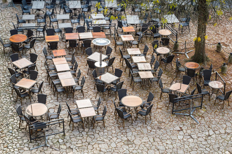 View from above outdoor empty tables and chairs of cafe royalty free stock image