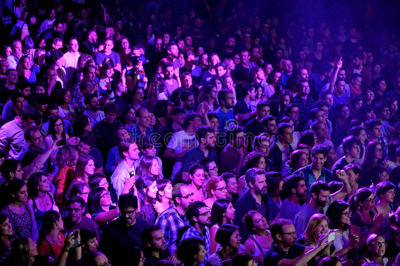 A view from above of people clapping in a concert at Razzmatazz discotheque stock photo