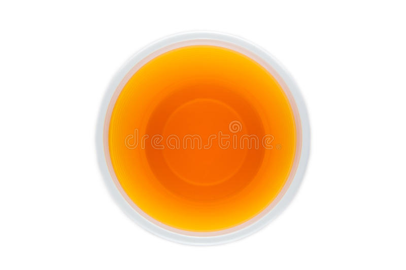 View from above of a plastic cup with yellow drink stock photos