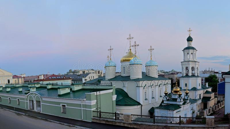 View from above of the Pokrovskaya Church and Nikolsky Cathedral from Profsoyuznaya Street. royalty free stock photos