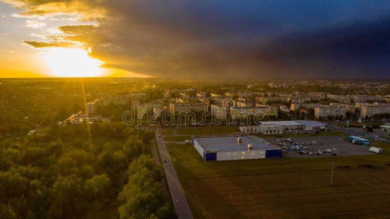 View from above on real estates in Ostrow Wielkopolski. In Poland, during dynamic weather stock images