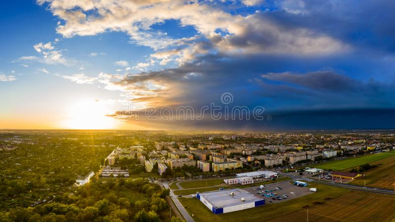 View from above on real estates in Ostrow Wielkopolski in Poland. During dynamic weather stock photos