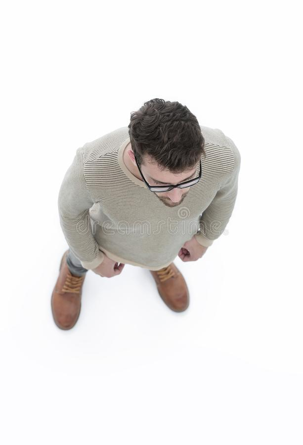 View from above. serious young man looking forward royalty free stock photo