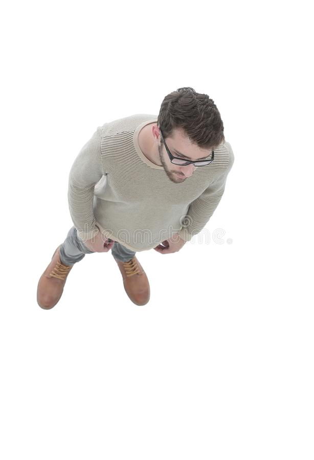 View from above. serious young man looking forward royalty free stock photography